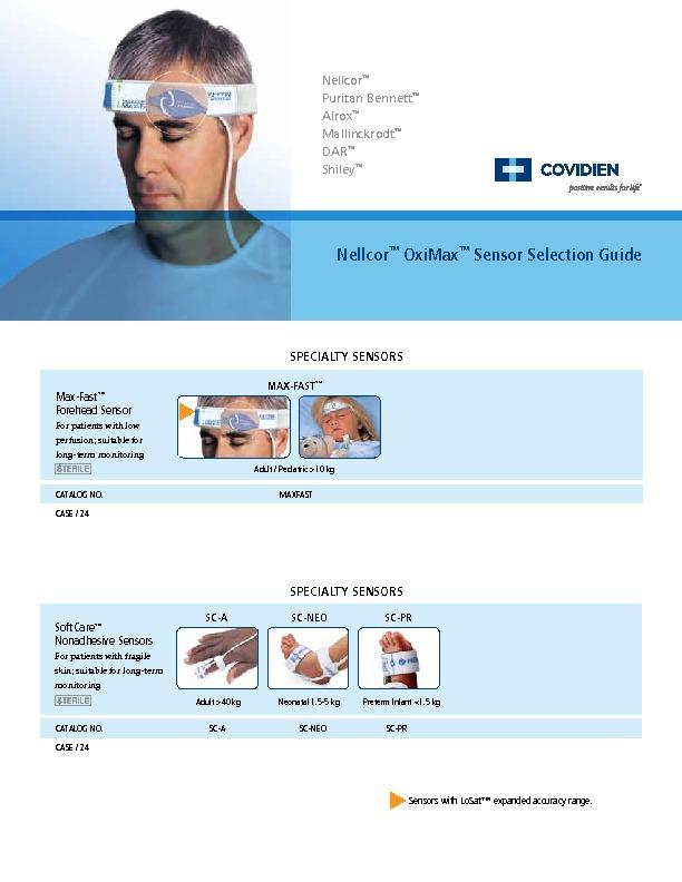 nellcor™ oximax™ Sensor Selection guide